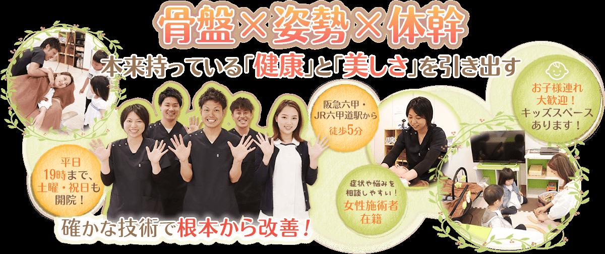 神戸市灘区 六甲道おはな整骨院は阪急六甲・JR六甲道駅から徒歩5分、平日20時まで、土曜日・祝日も開院。女性施術者在籍。キッズスペースあり。